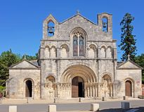 Church of Saint Vivian in France. Church of Saint Vivian in Pons, Charente-Maritime, France, with a twelfth century roman style facade and a pilgrim hospital for Royalty Free Stock Photography
