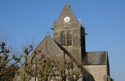 Church of Sainte mere Eglise in Normandie Stock Photography