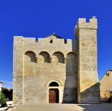 Church at Saintes Maries de la Mer. Front of the church at Saintes Maries de la Mer, Notre Dame de la Mer Stock Images