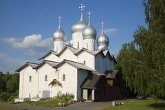 The Church of saints Boris and Gleb closeup july day. Veliky Novgorod Royalty Free Stock Photography