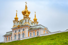 Church of Saints Peter and Paul on the hill in Peterhof. St. Petersburg, Russia. It was build in 1747-1751 by Rastrelli architect stock photos