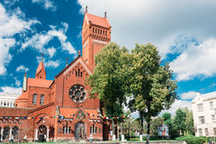 Church Of Saints Simon And Helen - Red Church On Independence Square Royalty Free Stock Images