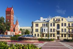 Church Of Saints Simon And Helen or Red Church At Independence Square In Minsk, Belarus. royalty free stock photography