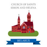 Church Saints Simon Helena Minsk Belarus flat vector attraction Stock Images