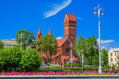 Church of Saints Simon and Helena in Minsk, Belarus. Church of Saints Simon and Helena Red church At Independence Square in Minsk, Belarus Royalty Free Stock Photo