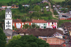 Church of Salento, Colombia. SALENTO, COLOMBIA - APRIL 26, 2009: View from the hill Alto de la Cruz onto the church and main square on April 26, 2009 in the royalty free stock images