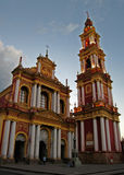 Church,Salta,Argentina. Colonial church, Salta, Argentina, old with columns and tower and decorative trim Royalty Free Stock Photography