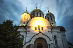 Church in Samara city in the evening, Russia. Royalty Free Stock Photos