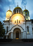 Church in Samara city in the evening, Russia. Stock Images