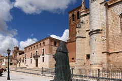 Church of San Antolin and the Houses of the Treaty. In Tordesillas, Valladolid province, Castilla y Leon, Spain royalty free stock image