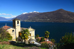Church of San Bartolomeo at Lago Maggiore. Church of San Bartolomeo with view at Lake Maggiore in Ticino, Italy Royalty Free Stock Photography