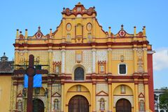 Church San Cristobal de las Casas Chiapas Mexico. Old Town of San Cristobal de las casas in Chiapas Mexico at sunset with its colonial and colorful architecture royalty free stock photography