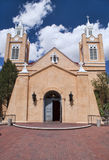 Church of San Felipe in Albuquerque, New Mexico. Historical Church of San Felipe with Blue Sky and White Clouds in background. Old Town Albuquerque, New Mexico royalty free stock photos