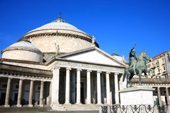 Church of San Francesco di Paola of Piazza del Plebiscito. Famous sight seeing destination in Naples Italy Stock Photos