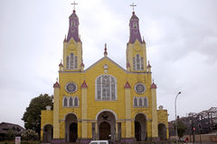 Church of San Francisco, Castro, Chile stock photography
