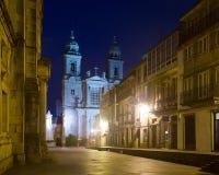 Church  of San Francisco in night time. Santiago de Compostela,  Galicia Royalty Free Stock Photo