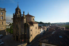 Church of San Fructuoso in day time. Santiago de Compostela. View with Church of San Fructuoso in day time. Santiago de Compostela,  Galicia, Spain Royalty Free Stock Photos
