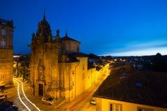 Church of San Fructuoso in night time. Santiago de Compostela Stock Photos