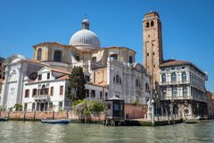 Church of San Geremia with Bell tower and Statue of San Giovanni Nepomuceno in Venice, Italy Royalty Free Stock Images