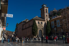 Church of San Gil and Santa Ana. Granada, Spain. Granada, Spain - January 6, 2017: Church of San Gil and Santa Ana stock photos
