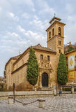 Church of San Gil and Santa Ana, Granada, Spain. Church of San Gil and Santa Ana is a prototype of the Mudejar style in Granada, built on the foundations of a royalty free stock photo