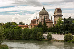 Church San Giorgio by the Adige river Royalty Free Stock Image