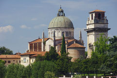 Church San Giorgio by the Adige river Royalty Free Stock Photos