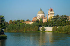 Church San Giorgio by the Adige river, Verona Italy Stock Image