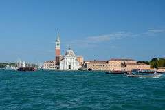 Church of San Giorgio Maggiore and boats in Venice, Italy Royalty Free Stock Photography
