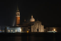 Church of San Giorgio Maggiore on Isola San Giorgio at night, Venice, Italy Royalty Free Stock Images