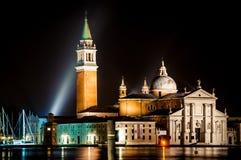 Church of San Giorgio Maggiore at night Venice Italy stock photo