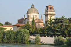 Church San Giorgio over the Adige river, Verona Stock Image