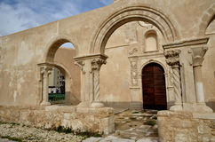 The church San Giovanni in Siracusa, Italy. Siracusa, Sicily, church of San Giovanni, Italian destination. Catacombs entrance Royalty Free Stock Photos