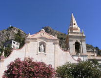 The church of San Giuseppe overlooking the Piazza IX Aprile in Toarmina, Sicily Royalty Free Stock Photo