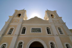 Church in San Jose Del Cabo Mexico. Looking up at catholic church in San Jose Del Cabo Mexico Stock Image