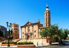 Church of San Juan de los Panetes and Zuda Tower. At Zaragoza. Aragon Stock Images