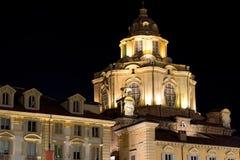 Church of San Lorenzo by Night - Turin Italy Stock Image