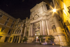 Church San Marcello Rome. Church San Marcello, Rome, night image with street light shining Royalty Free Stock Photography