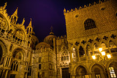 Church San Marco and Doge's Palace at night Royalty Free Stock Photography