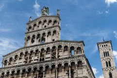 Church of San Michele in Foro, Lucca, Tuscany, Italy stock images