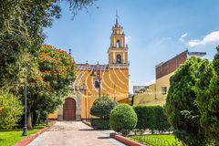 Church of San Pedro Apostol at Cholula Main Square - Cholula, Puebla, Mexico Stock Image