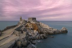 Colorfull sky over San Pietro Church in Portovenere royalty free stock photo