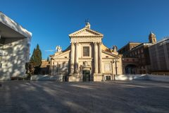 Church of San Rocco all` Augusteo, in front of the Ara Pacis str royalty free stock photo