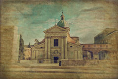 Church San Rocco in Rome, Italy. 17th century church San Rocco (San Rocco all'Augusteo) in the Campus Martius, Rome, Italy. Grunge and retro style Royalty Free Stock Image