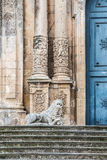 Church of San Sebastiano in Palazzolo Acreide, Siracusa, Sicily,. Detail of the facade of the church of San Sebastiano with columns and a marble lion in Stock Images