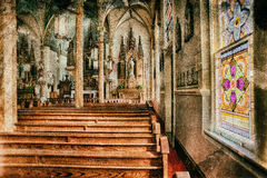 Church Sanctuary with Colorful Stained Glass Stock Image