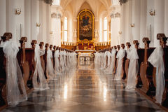 Church sanctuary before a wedding ceremony Royalty Free Stock Image