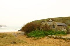 Church on the sand, Gunwalloe cove, Stock Photography