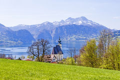 Church Sankt Andreas with beautiful view to the Attersee in Aust Royalty Free Stock Photography