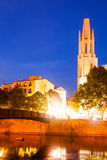 Church of Sant Feliu in evening time. Girona Royalty Free Stock Images